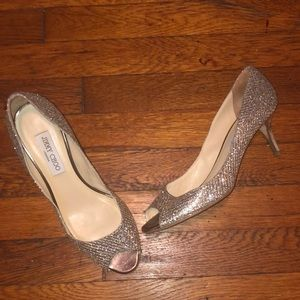 Jimmy Choo Isabel sparkle shoes heels gold silver